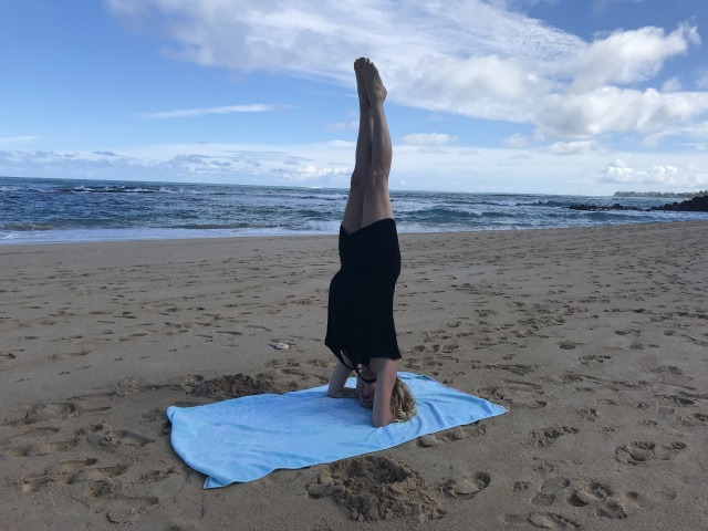 Pregnant Headstand on the beach in Maui
